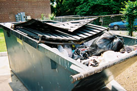 overflowing dumpster