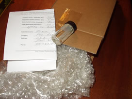 Sample with bubble wrap and box